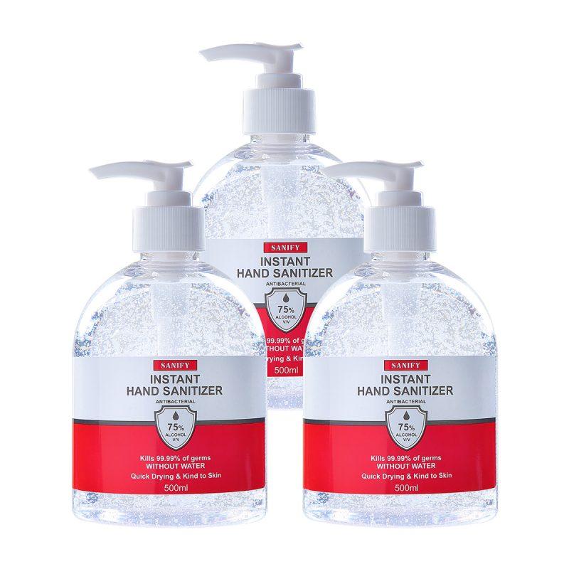 Three 500ml bottles of SANIFY Hand Sanitiser Gel